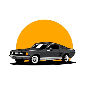 Vector de logotipo de coche clásico