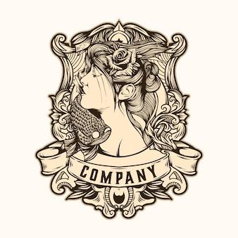 Vector de logotipo de fish princess de ilustración
