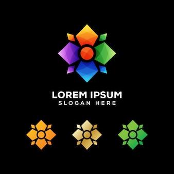 Vector de logotipo geométrico de flores coloridas