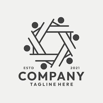 Vector de logotipo de grupo familiar de arte de línea moderna