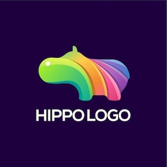 Vector de logotipo de hipopótamo a todo color
