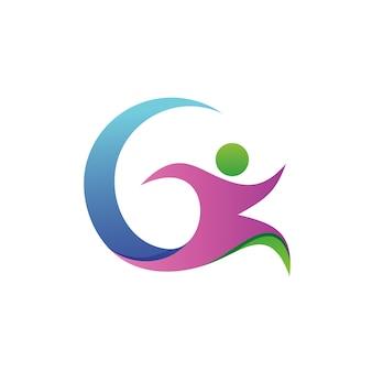 Vector de logotipo humano corriendo