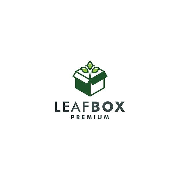 Vector de logotipo de icono de naturaleza de plantilla de diseño de logotipo de caja de hoja