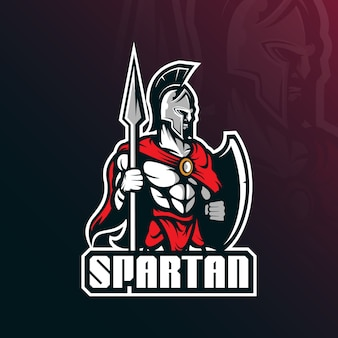 Vector de logotipo de mascota espartano con estilo de concepto de ilustración moderna para impresión de insignia, emblema y camiseta.