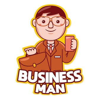Vector de logotipo de mascota de profesión de empresario en estilo de dibujos animados