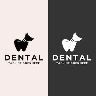 Vector de logotipo de perro dental moderno y juguetón