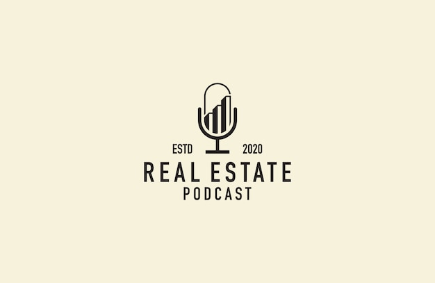 Vector de logotipo de podcast inmobiliario