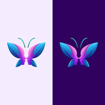 Vector de logotipo premium humano cara de mariposa abstracta