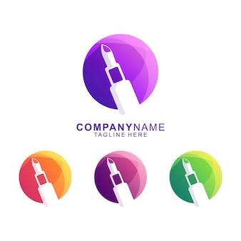 Vector de logotipo premium de lápiz labial de belleza impresionante