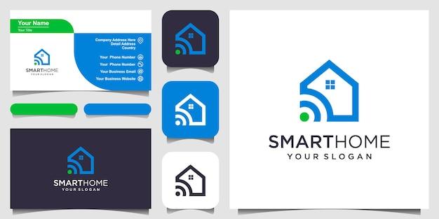 Vector de logotipo de tecnología de casa inteligente. diseño de logotipo, icono y tarjeta de visita