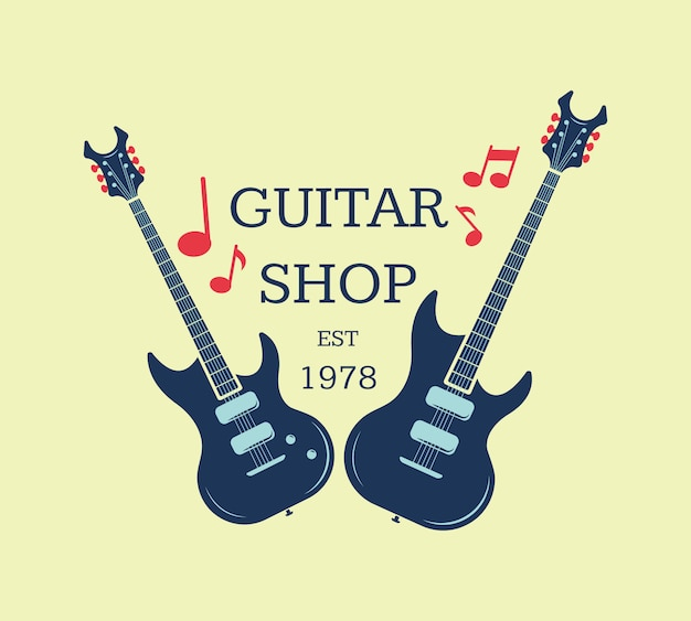 Vector logotipo de tienda de guitarras, emblema con notas musicales. ilustración de signo de tienda musical