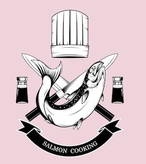 Vector de logotipos de cocina de salmón a mano