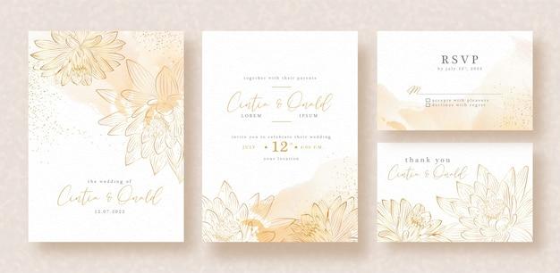 Vector de loto dorado en plantilla de tarjeta de invitación