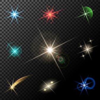 Vector de luces brillantes, estrellas y destellos sobre fondo transparente