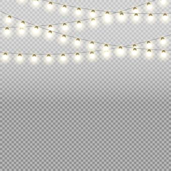 Vector de luces de navidad aislado sobre fondo transparente