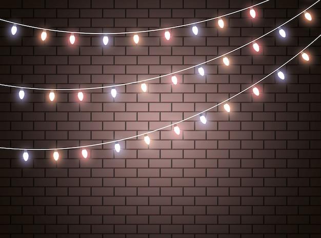 Vector luces de navidad, aislado en transparente