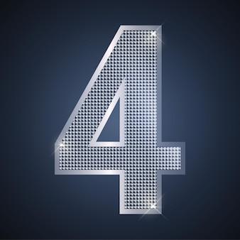 Vector luxurysilver número cuatro 4 con diamantes para celebración de aniversario o cumpleaños de cuarto año