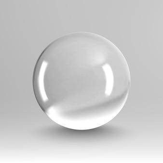 Vector de luz de bola de cristal sobre fondo transparente. bola transparente esfera clara. burbuja transparente eps 10.