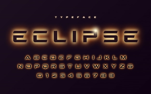 Vector de luz de neón de moda o eclipse estilo futurista brillante fon