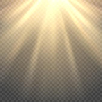 Vector luz del sol sobre fondo transparente