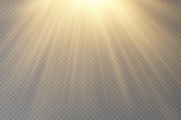 Vector de luz solar transparente efecto de luz de destello de lente especial.