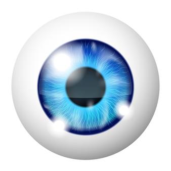 Vector macro de ojo humano azul sobre blanco