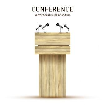 Vector de madera podium tribune tribuna de pie, con los micrófonos