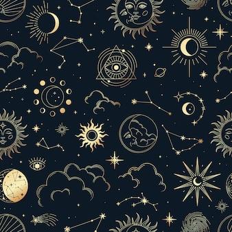 Vector mágico de patrones sin fisuras con constelaciones, sol, luna, ojos mágicos, nubes y estrellas.