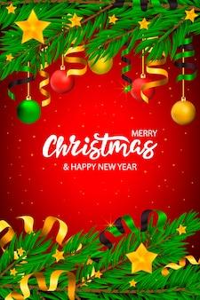 Vector mano dibujada banner de navidad con letras y árbol con estrellas y cintas.