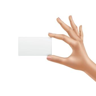 Vector mano femenina con tarjeta en blanco aislada