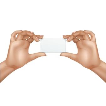 Vector manos femeninas con tarjeta en blanco aislada sobre fondo blanco
