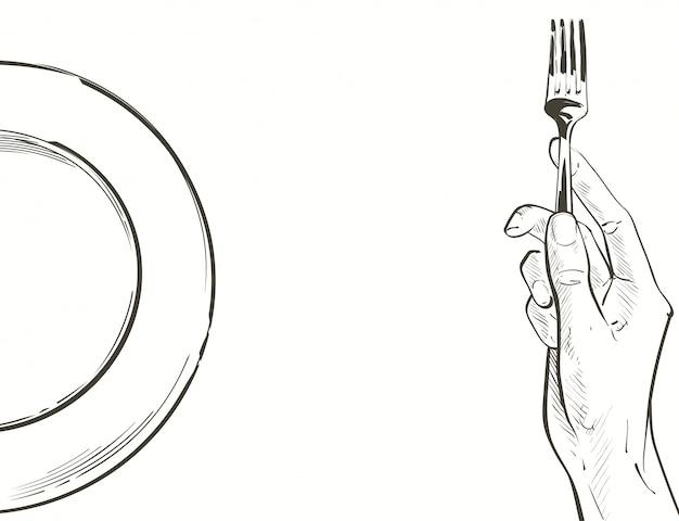 Vector manos sosteniendo un cuchillo y tenedor