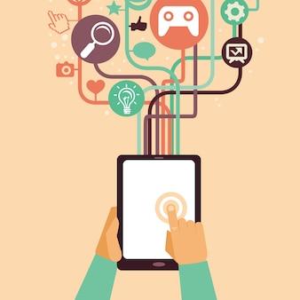 Vector manos y tablet pc con elementos de internet - ilustración en estilo retro plana