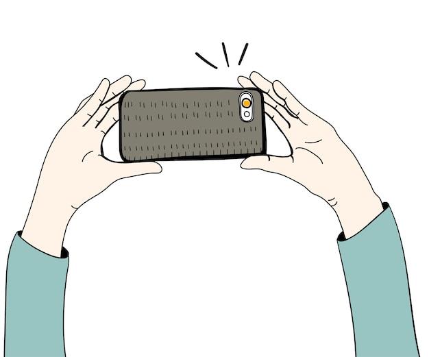 Vector de manos tomando fotos con smartphone