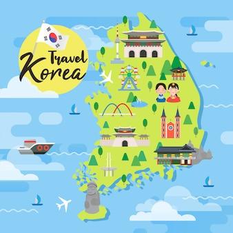 Vector de mapa de viaje de corea del sur