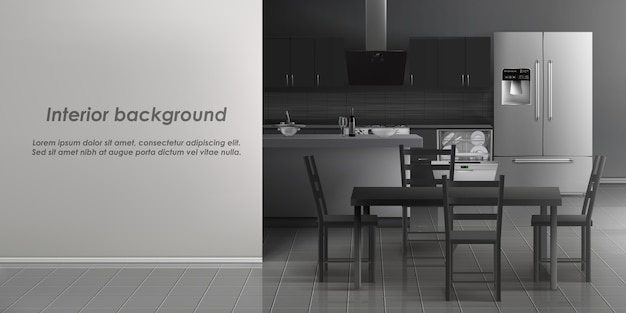Vector de maqueta del interior de la sala de cocina con electrodomésticos, refrigerador, lavaplatos con plato