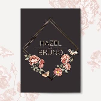 Vector de maqueta de invitación de boda floral