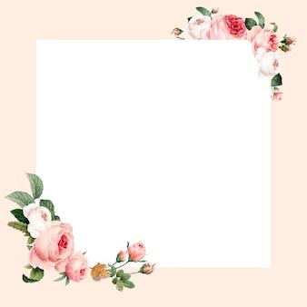 Vector de marco cuadrado floral en blanco