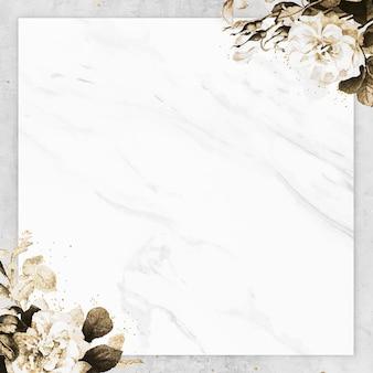 Vector de marco cuadrado con textura de mármol en blanco