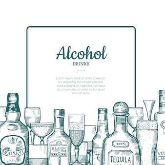 Vector el marco dibujado mano de las botellas y de los vidrios de la bebida del alcohol con el lugar para el texto con debajo del ejemplo. botella de alcohol, cerveza y whisky dibujados a mano.