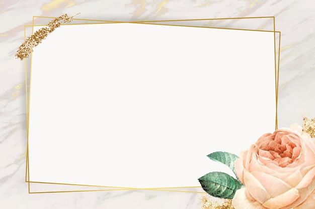 Vector de marco dorado rectángulo floral