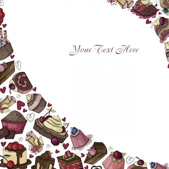 Vector marco de dulces, postres, pasteles, alimentos de dibujos animados