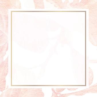 Vector de marco estampado de hoja de plátano rosa vintage