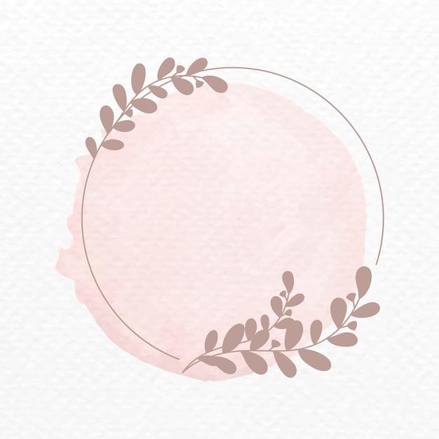 Vector de marco en estilo acuarela de adorno botánico rosa