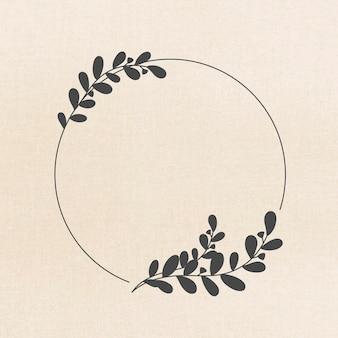Vector de marco en estilo de adorno botánico negro