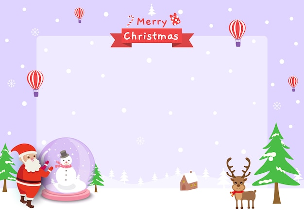 Vector de marco feliz navidad con bola de cristal de santa claus y renos en la nieve