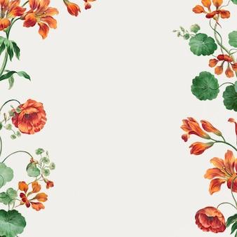Vector de marco floral con impresión de arte de amapola y lirio, remezclada de obras de arte de john edwards