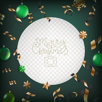 Vector de marco de foto con elementos de navidad.