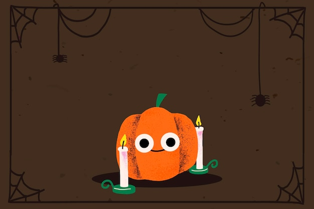 Vector de marco de halloween, linda calabaza de jack-o & # 39; -lantern