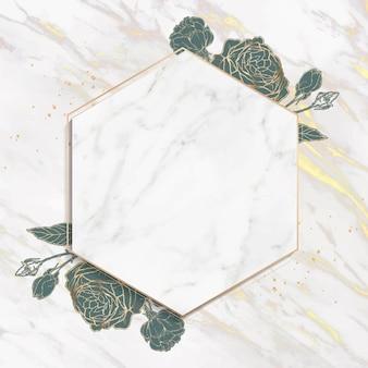Vector de marco hexagonal dorado en blanco